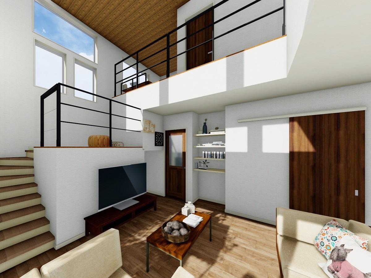 リビング→中2階→2階ホールと高さの違うくつろぎスペースを設けました。お互いの気配を感じながら、それぞれの時間を楽しめる空間に。