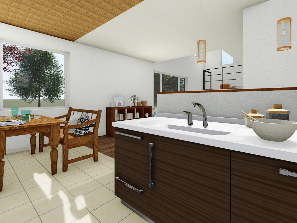床はお掃除がしやすくオシャレなタイル貼り。天井には木目クロスを使い、温かい雰囲気に。