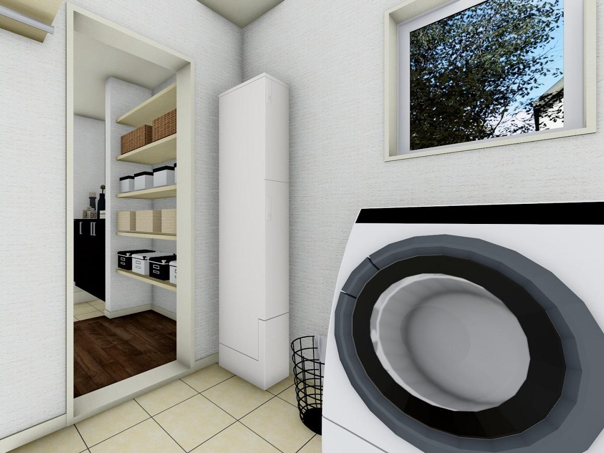 大容量のファミリー収納から繋がる洗面室。その日の洗濯物はリビングに入る前に洗濯機にIN!