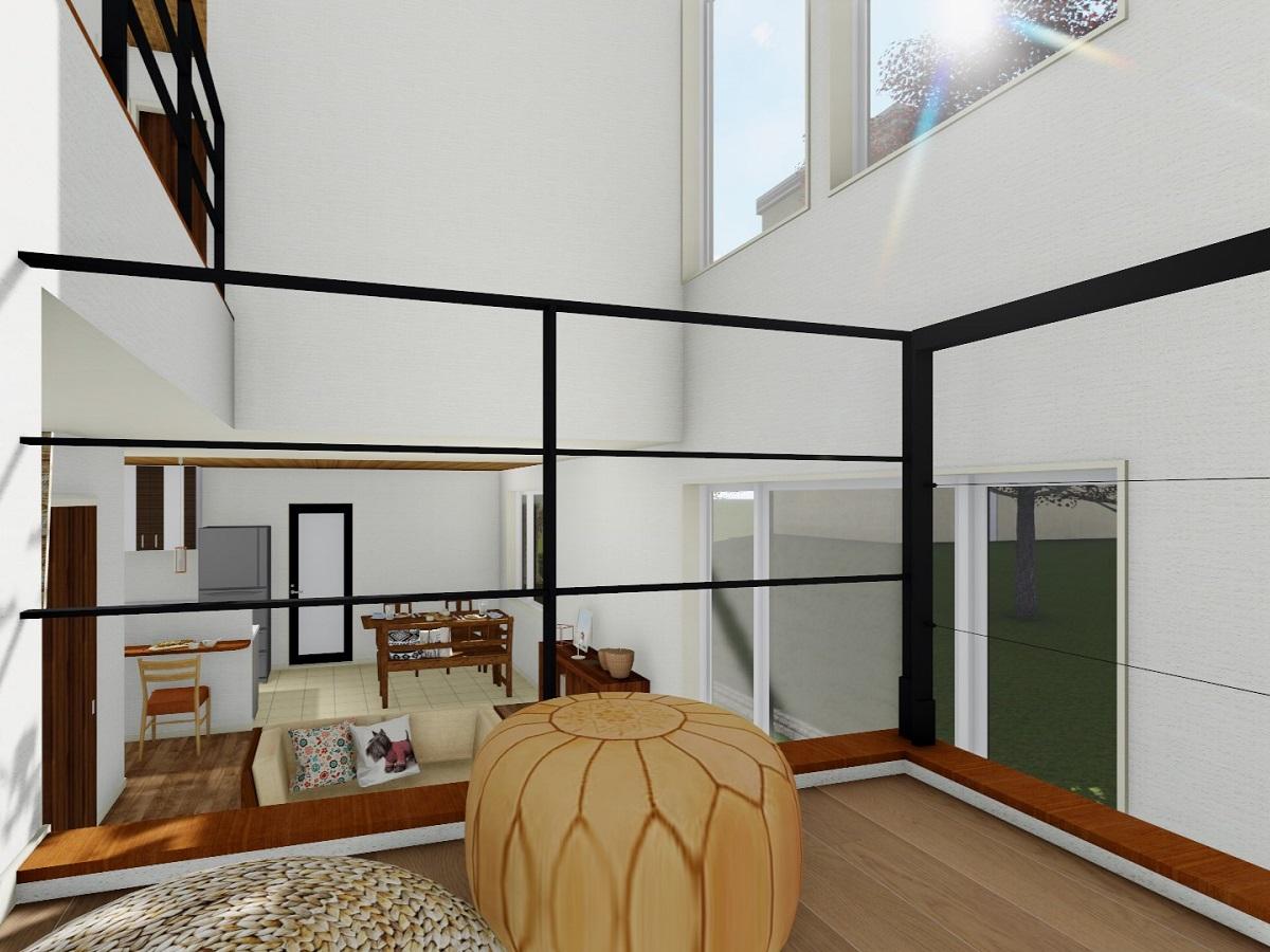 ビングを長めならがまったり寛ぐスペース。趣味のものを飾るもよし、家事スペースに使うもよしライフスタイルの変化にあわせて幅広く使えるスペースです。