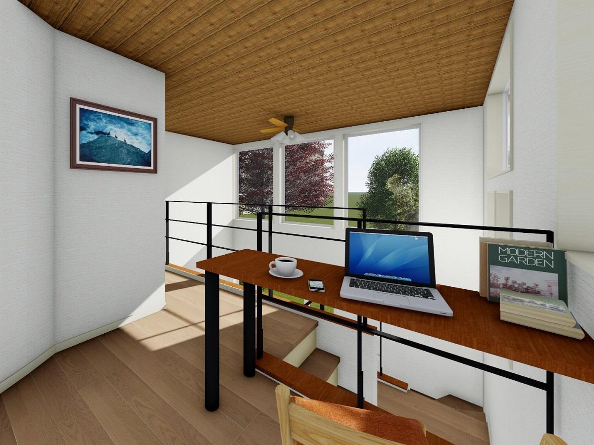 R壁と天井の木目のクロスが柔らかく落ち着いた空間を演出!ご主人様こだわりのスペースです。
