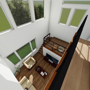 中2階と2階ホール部分は黒いアイアンの手すりで統一。 ラスティックな表情の無垢フロアとアイアンの相性が抜群です。
