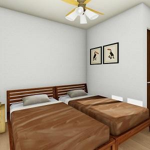 主寝室は落ち着けるようにシングルベッドを2台置ける広さに。