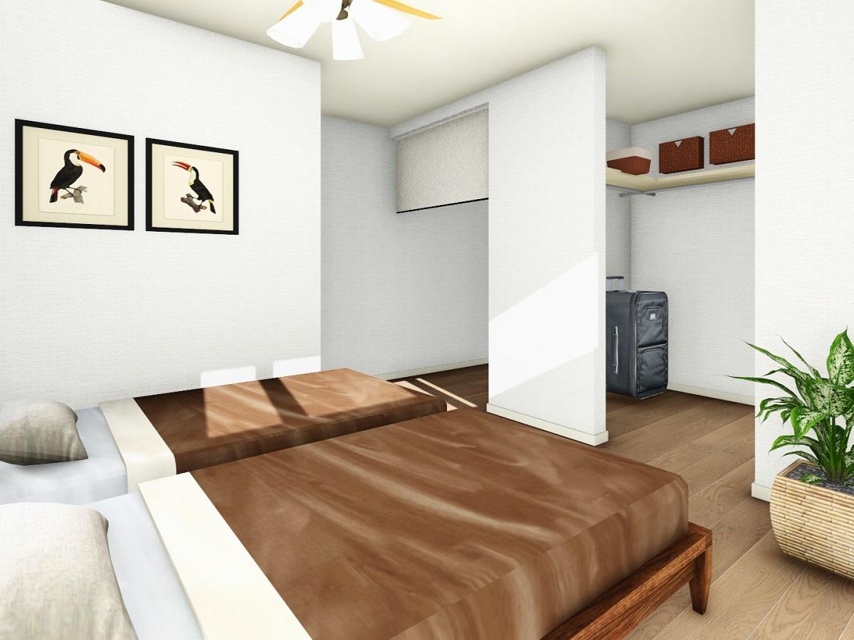 夫婦2人分の収納料が必要な主寝室にはWICだけでなく、納戸も設けました。ロールスクリーンで仕切れるようにすることで、物の出し入れがしやすいようにしました。