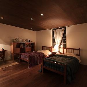 屋根勾配をそのままあらわした天井高により、室内に落ち着きを与えています。