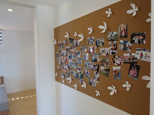 主寝室と子ども部屋を繋ぐホールにコルクボード掲示板を設置。ご家族間のコミュニケーションに役立ちます。