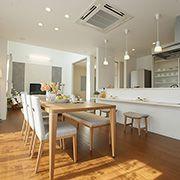 家族の笑顔の輪が自然と生まれる工夫が満載のキッチンを中心とした回遊動線です。