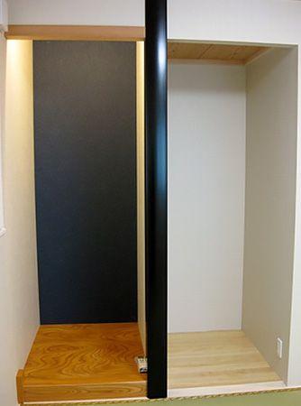 床の間・仏間・押入れを設置し、床の間のアクセントに紺色の和紙のクロスを貼り落ち着きある空間に仕上げました。