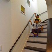 カラー別の飾り棚を備えた遊び心のある階段