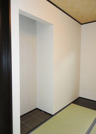 和室の板の間はタイル仕上げ。おしゃれですね。
