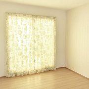 寝室のカーテンはあえてレースを室内側にもってきて、カーテンを開けているときも、カーテンを閉めているときもレースの柄が映えるようにしました。