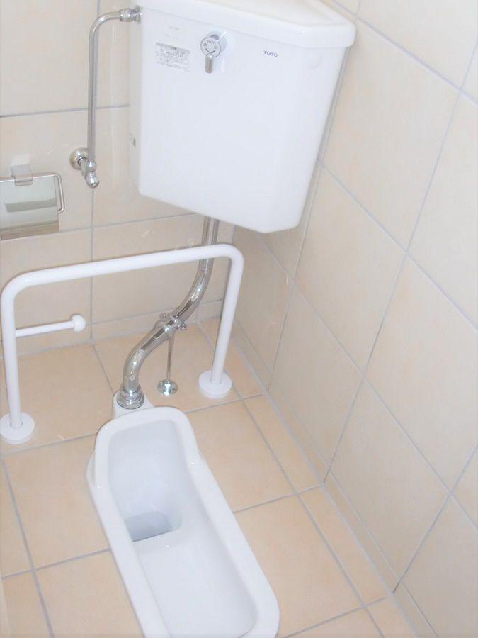第2のトイレとして和式トイレを採用。子どもたちも使えるように手摺も設置。