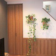 観葉植物の高さに合わせて棚の高さを決めました。また階段下の収納はたっぷり入ります。
