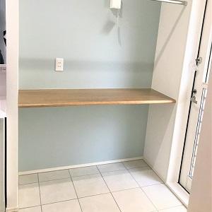 洗面所にランドリースペースを確保。カウンターもあり、横には勝手口もあるので、家事がスムーズに。