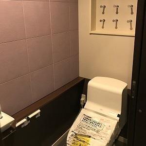 優しい紫色の壁材を使ったトイレです。壁材は調湿・防臭の効果があるので空気をきれいにしてくれます。
