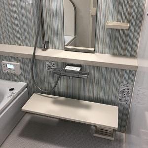 浴室のアクセントパネルはブルーのストライプ。爽やかな空間で1日の疲れをリフレッシュ!
